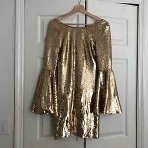 Lulus Gold Sequined Bell Sleeve dress